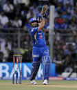 Sachin Tendulkar plays a lofted shot, Mumbai Indians v Sunrisers Hyderabad, IPL 2013, Mumbai, May 13, 2013