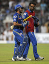 Sachin Tendulkar walks off with the team physio after suffering from cramps, Mumbai Indians v Sunrisers Hyderabad, IPL 2013, Mumbai, May 13, 2013