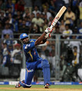 Kieron Pollard smacks the ball for a six, Mumbai Indians v Sunrisers Hyderabad, IPL 2013, Mumbai, May 13, 2013