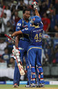 Rohit Sharma and Kieron Pollard celebrate after winning the match, Mumbai Indians v Sunrisers Hyderabad, IPL 2013, Mumbai, May 13, 2013
