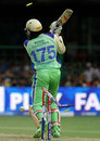 Chris Gayle's offstump was uprooted by a delivery from Parvinder Awana, Royal Challengers Bangalore v Kings XI Punjab, IPL 2013, Bangalore, May 14, 2013