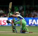 Ab de Villiers is bowled by Parvinder Awana, Royal Challengers Bangalore v Kings XI Punjab, IPL 2013, Bangalore, May 14, 2013