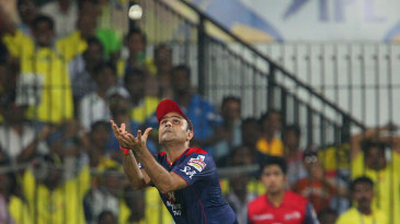Virender Sehwag gets under a catch to dismiss Michael Hussey