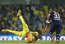 Dwayne Bravo dives to save a run off his bowling, Chennai Super Kings v Delhi Daredevils, IPL 2013, Chennai, May 14, 2013