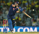 David Warner plays a lofted shot during his innings, Chennai Super Kings v Delhi Daredevils, IPL 2013, Chennai, May 14, 2013