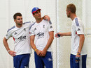 James Anderson, Steven Finn and Stuart Broad in the nets