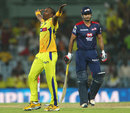 Dwayne Bravo celebrates after picking Irfan Pathan's wicket, Chennai Super Kings v Delhi Daredevils, IPL 2013, Chennai, May 14, 2013