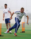 James Anderson and Stuart Broad take part in a training drill
