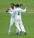 Samit Patel and James Taylor celebrate a wicket, Nottinghamshire v Surrey, County Championship, Division One, Trent Bridge, 2nd day, May 16, 2013