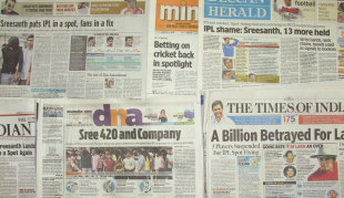 A selection of headlines in India in the aftermath of the IPL spot-fixing allegations, May 17, 2013