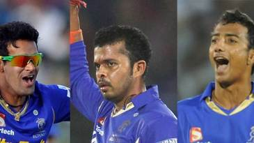 A composite image of Ajit Chandila, Sreesanth and Ankeet Chavan