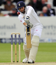 Dig in: Joe Root gets behind the line on the second morning