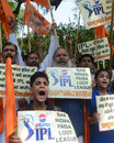 Protesters make their voices heard in the wake of the IPL spot-fixing revelations