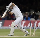 Joe Root misses one and loses his middle stump, England v New Zealand, 1st Investec Test, Lord's, 3rd day, May 18, 2013
