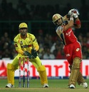 Virat Kohli whacks one over the bowler's head, Royal Challengers Bangalore v Chennai Super Kings, IPL2013, Bangalore, May 18, 2013