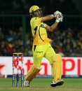 MS Dhoni pulls a short ball out of the ground