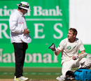Kane Williamson shows umpire Aleem Dar his damaged box, New Zealand v South Africa, 3rd Test, Wellington, 5th day, March 27, 2012