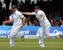 Jonathan Trott charges off in celebration at catching BJ Watling