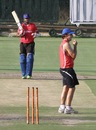 Stuart Binny and Brad Hogg during a practice session at the Sawai Mansingh Stadium in Jaipur