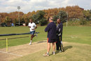 Lonwabo Tsotsobe bowls as Gordon Parsons and Geoff Toyana look on, Johannesburg, May 20, 2013