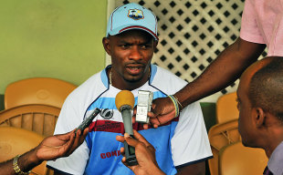 West Indies batsman Devon Smith speaks to the media during the pre-Champions Trophy conditioning camp in Barbados