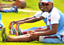 West Indies players Darren Bravo and Kemar Roach at the West Indies conditioning camp