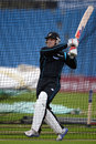 Brendon McCullum bats during a practice session at Headingley, Leeds, May 22, 2013