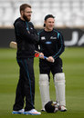 Daniel Vettori and Brendon McCullum during a practice session at Headingley, Leeds, May 22, 2013
