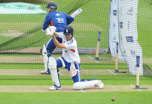 Alastair Cook cover drives in the nets at Headingley