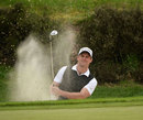Former England captain Andrew Strauss plays out of a bunker at Wentworth, BMW Championships, Wentworth, May, 22, 2013