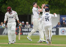 Steve Magoffin celebrates the wicket of Arul Suppiah, Sussex v Somerset, County Championship, Division One, Horsham, 1st day, May, 22, 2013