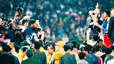 Arjuna Ranatunga with the World Cup trophy, 17 March 1996