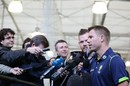 David Warner speaks to the media in Sydney