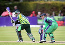 Mohammad Hafeez nudges the ball to the leg side