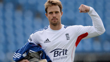 Nick Compton strikes a pose after a net session