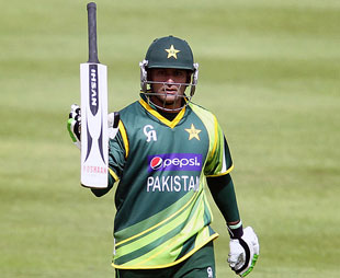 Mohammad Hafeez scored his fifth ODI century, but Ireland managed to tie the rain-hit match in Dublin