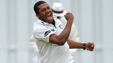 Chris Jordan celebrates one of his two wickets