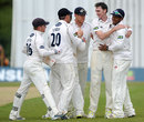 Steve Magoffin is congratulated on another wicket