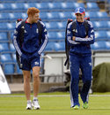 Jonny Bairstow and Joe Root stroll across the outfield