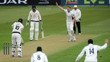 David Balcombe appeals unsuccessfully for the wicket of Simon Kerrigan
