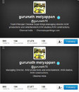 Screenshots of Gurunath Meiyappan's twitter account 30 minutes apart. The one on top claims an affiliation with Chennai Super Kings, but the one below reflects some interesting changes