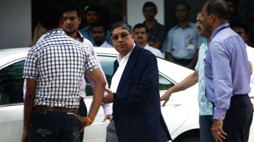 N Srinivasan after meeting with Mumbai police