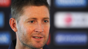 Michael Clarke gives his first press conference after arriving for the Champions Trophy