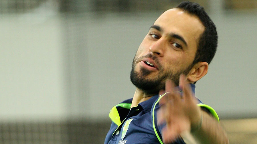 Fawad Ahmed bowls during a media session in Melbourne