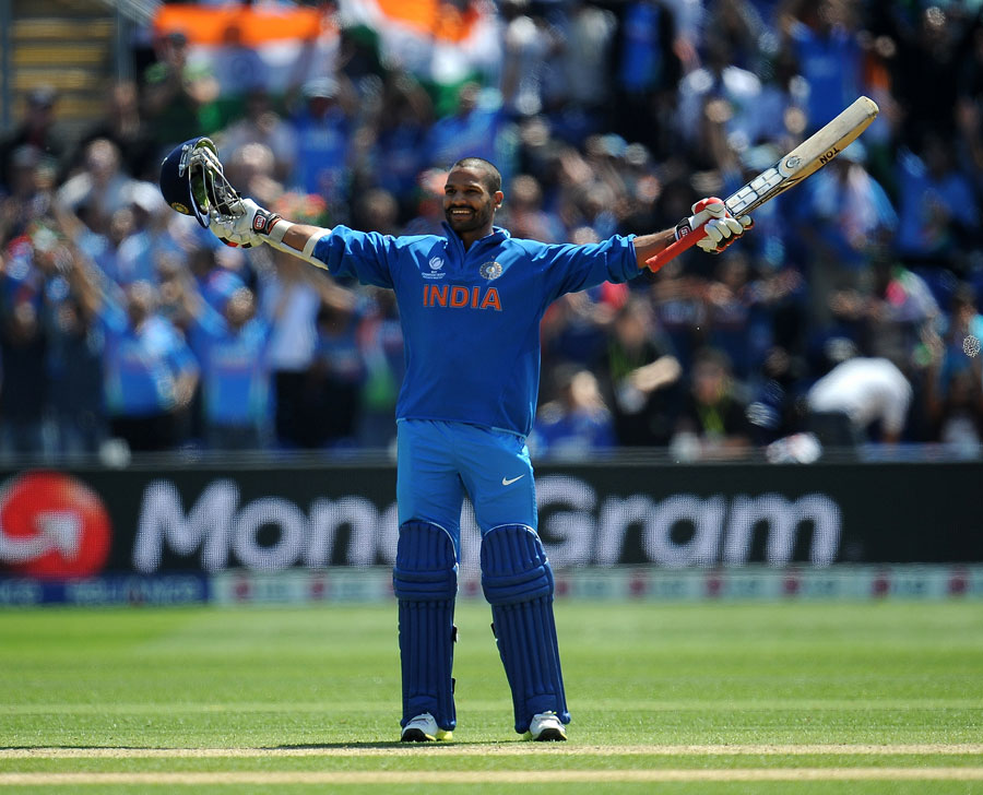 Shikhar Dhawan celebrates his maiden ODI century