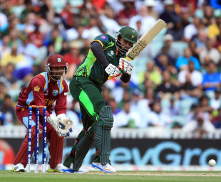 Nasir Jamshed plays an on drive, West Indies v Pakistan, Champions Trophy, Group B, The Oval, June 7, 2013