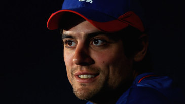 Alastair Cook chats with the media