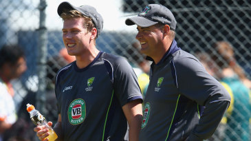 James Faulkner and Mickey Arthur share a joke