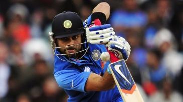Virat Kohli defends with a straight bat