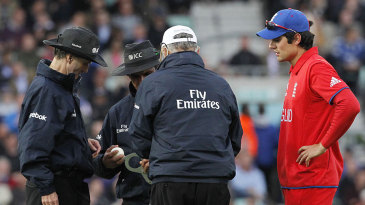 Alastair Cook was not impressed when the ball was changed